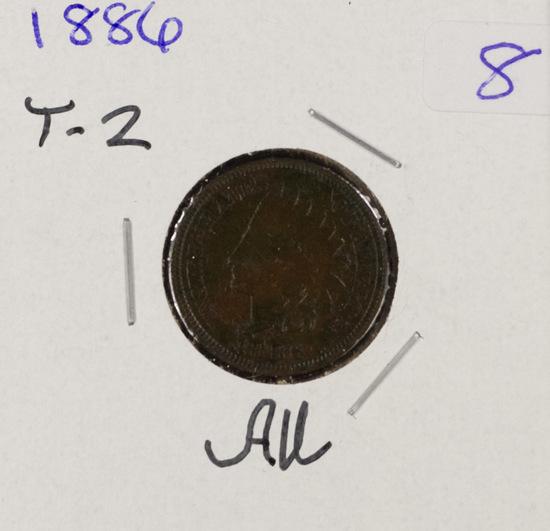 1886 - TYPE II INDIAN HEAD CENT - AU