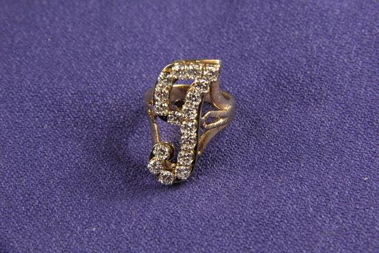 """Diamond """"J"""" Ring"""