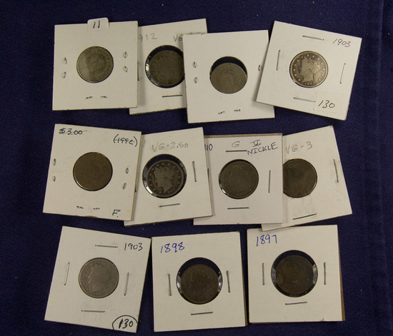 "Lot of 11, Liberty ""V"" Nickels - G-VG"