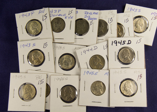 Lot of 15, Silver WWII Jefferson Nickels