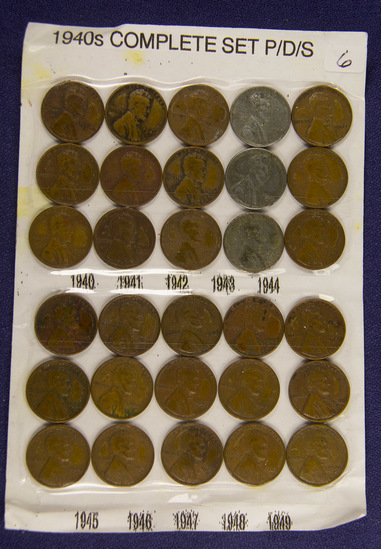 1940's -1949 PDS, Complete Lincoln Cents Set