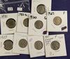 Lot of 9, Buffalo Nickel, G-XF
