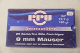 1 Box of 20, PPU 8 mm Mauser 196 gr SP