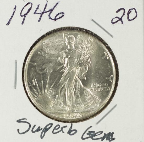 1946 - WALKING LIBERTY HALF DOLLAR - GEM BU