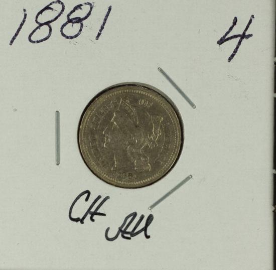 1881 - THREE CENT PIECE - AU
