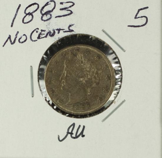 "1883 - NO CENTS LIBERTY ""V"" NICKEL- AU"