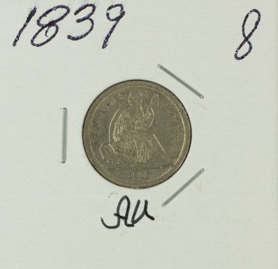1839 LIBERTY SEATED DIME - AU