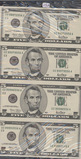 SHEET OF 4 - FIVE DOLLAR SERIES OF 2001