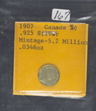 1907 - SILVER .925 CANADIAN 5 CENTS - F