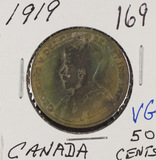 1919 - CANADIAN 50 CENTS - VG - TONED