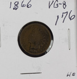 1866 - INDIAN HEAD CENT - VG