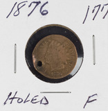 1876 - INDIAN HEAD CENT - HOLED - F