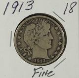 1913 - BARBER HALF DOLLAR - F