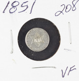 1851  - SILVER THREE CENT PIECE - VF