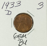 1933-D LINCOLN CENT - CH BU