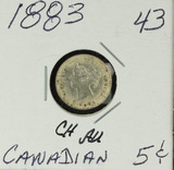 1883 - CANADIAN SILVER FIVE CENT - AU
