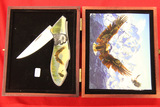 Single Blade Pocket Knife with Eagle In Wood Box