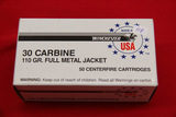 1 Box of 50, Winchester 30 Carbine 110 gr FMJ