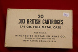 1Box of 20, Winchester 303 British 174 gr FMC