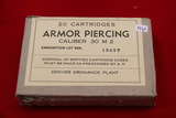 1 Box of 20, Denver Ordnance 30 caliber Armor