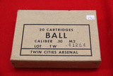 1 Box of 20, Twin City 30 Caliber