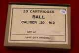 1 Box of 20, Lake City 30 Caliber