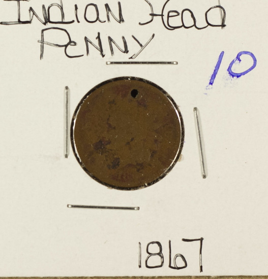 1867 - INDIAN HEAD CENT - G HOLED
