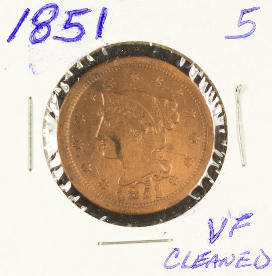 1851 - BRAIDED HAIR LARGE CENT -VF