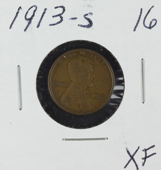 1913-S LINCOLN CENT - XF