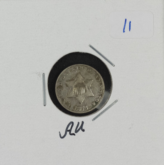 1853 - THREE CENT SILVER - AU