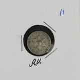 1853 - THREE CENT SILVER - AU