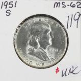 1951-S FRANKLIN HALF DOLLAR - UNC