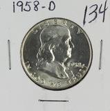 1958-D FRANKLIN HALF DOLLAR - GEM