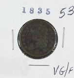 1835 - CLASSIC HEAD HALF CENT - VG/F - PORUS