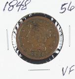 1848 BRAIDED HAIR LARGE CENT - VF+