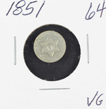 1851 - SILVER THREE CENT PIECE (TRIME) - VG