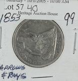 1853- LIBERTY SEATED HALF DOLLAR - XF