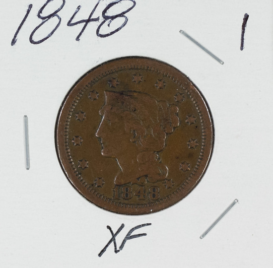 1848 - BRAIDED HAIR LARGE CENT - XF