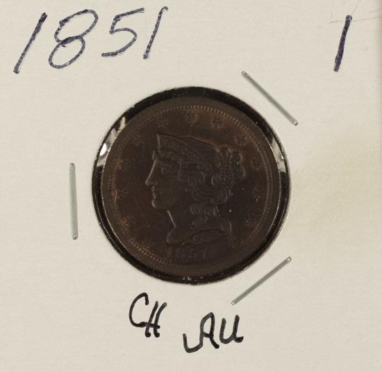 1851 BRAIDED HAIR HALF CENT - AU