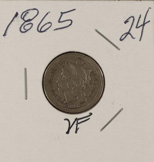 1865 NICKEL THREE CENT PIECE - VF