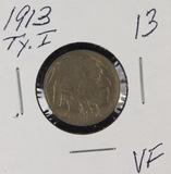 1913- TYPE I BUFFALO NICKEL - VF