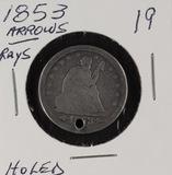 1853 - ARROWS/RAY QUARTER - HOLED