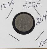 1868 - NICKEL THREE CENT PIECE - VF