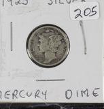 LOT OF 6 - MERCURY DIMES 1923, 27-D, 27-S, 39-D,42-P, 42-D-F-XF