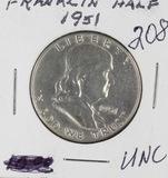 1951-P FRANKLIN HALF DOLLAR - UNC