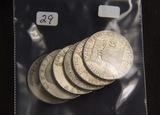 6 - FRANKLIN HALF DOLLARS - ($3.00 FACE)