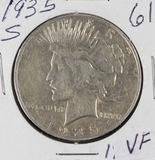 1935- S PEACE DOLLAR - VF