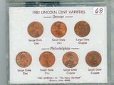 7 - COIN SET OF 1982 LINCOLN CENT VARIETIES - UNC