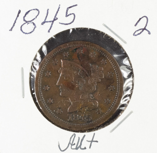 1845 - BRAIDED HAIR LARGE CENT - AU+