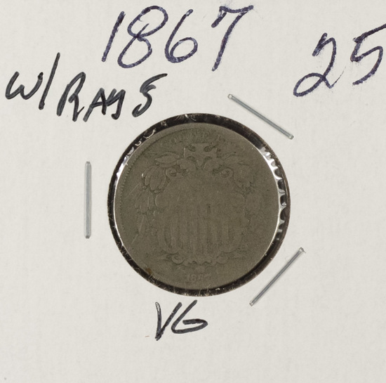 1867 - SHIELD NICKEL WITH RAYS - VG
